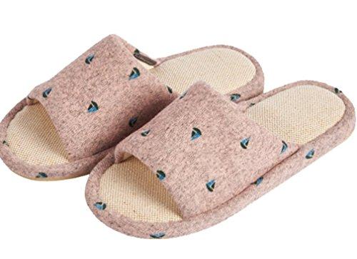 Pantofole Da Donna Cattior Da Donna Estate Fiori Di Lino Pistone Punta Aperta Rosa