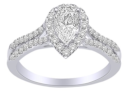Pinched Shank Engagement Wedding Ring In 14k White Gold With (1.2 cttw) White Natural Diamond With Ring Size 4