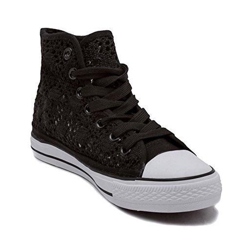 Mforshop Pizzo Para Casual Donna Scarpe Alta Sneakers Z9527 Zeppa Nero Da Ginnastica Bianca 4T4O0xw