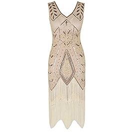 PrettyGuide Women 1920s Inspired Art Deco Sequin Fringed Cocktail Flapper Dress