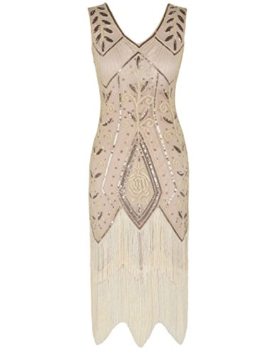 PrettyGuide Women 1920s Art Deco Sequin Fringed Charleston Flapper Dress XL Champagne -