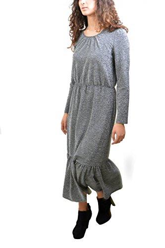 MADE IN ITALY Vestito Grigio Lurex Lungo Elasticizzato Balza Abbigliamento Moda Donna