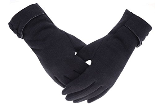 Tomily Womens Touch Screen Phone Fleece Windproof Gloves Winter Warm Wear (Black)