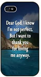 Dear God, I know I am not perfect - Sea and mountains - Bible verse IPHONE 5C black plastic case / Christian Verses
