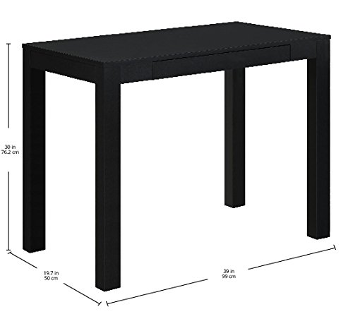 Ameriwood Home Parsons Desk with Drawer, Black