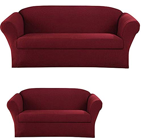 - Elegant Home Stretch to Fit 3 Piece or 2 Piece or 1 Piece for Sofa Loveseat & Arm Chair Slipcover Furniture Protector # Stella (2 Piece Sofa &Love Seat Cover (2PC), Burgundy)