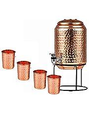 Royal sapphire Pure Koper Water Pot Dispenser Matka Water Tank Water Opslag Capaciteit: - 1697 oz voor gebruik Opslag Drinkwater Restaurant Hotel Homeware Goede Gezondheid Voordelen met 4 stks koperen glas