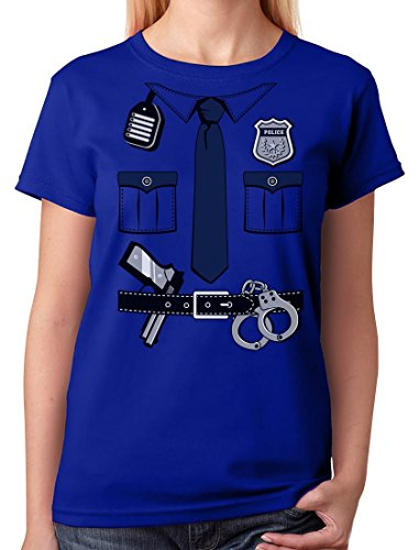 [Police Cop Uniform Halloween Costume Policeman Outfit Suit Women T-Shirt Large Blue] (Cop Costumes Tshirt)