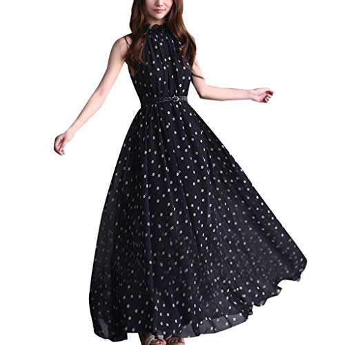 LuminitA Women's Halter Neck Boho Dresses Polk Dot Prints Sleeveless Evening Party Maxi Dress with Belt