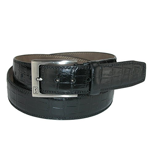PGA TOUR Men's Gator Print Leather Belt with Hidden Stretch, 36, Black Alligator Print Leather Belt