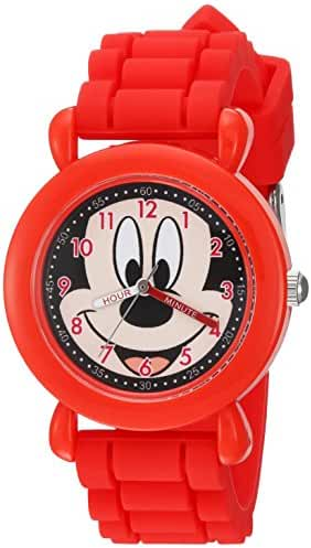Disney Boy's 'Mickey Mouse' Quartz Plastic and Silicone Casual Watch, Color:Red (Model: WDS000140)