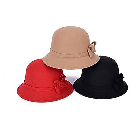 2bdae748726b6 Kentop Mujer Sombrero Hongo Gorra Bombín Gorro de Fieltro Cálido en otoño e  Invierno