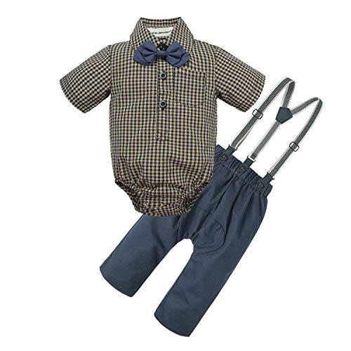 BIG ELEPHANT Baby Boys 2 Pieces Fashion Shirt Suspender Pants Set with Bowtie