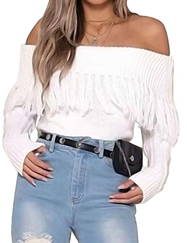 XXXITICAT Women's Sexy Tassel Off Shoulder Fringe Cardigan Long Sleeve Pullovers Sweaters(WH)
