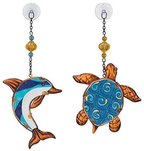 (Regal Art & Gift Suncatchers, Blue Dolphin & Turtle Glass Sun Catcher for Home, Garden, Window and Wall Art)