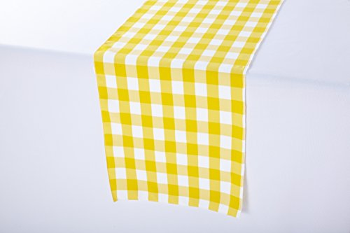 Polyester Wedding Table Runner 14 x 108 Inches (Yellow and White Gingham)]()