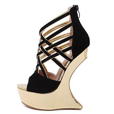 LvYuan Mujer-Plataforma-Confort Innovador Zapatos del club-Sandalias-Vestido Fiesta y Noche-Ante-Negro Rojo Black
