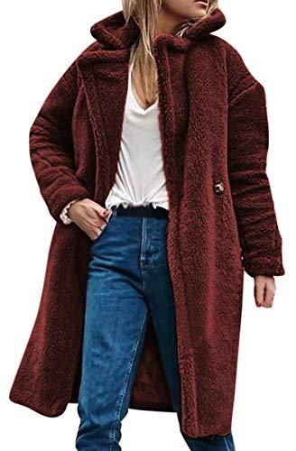 Tinta Lapel Cappotto Lana Caldo Cardigans Inverno Outwear Rosso Vino Lungo Plush Unita Di Blackmyth Donna Giacche xEqXw80v7