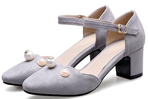 Aisun Damen Einfach Geschlossen Zehe Nubuk Künstliche Perlen Schnalle Blockabsatz Pumps Grau