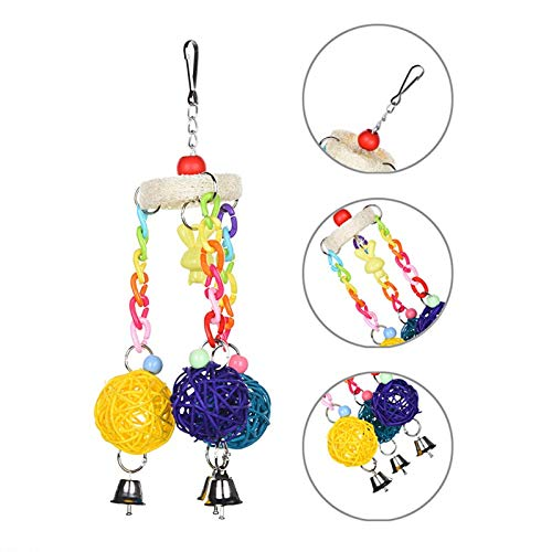 Bird Toy - Bird Toys With Bells Pet Loofah Chewing Colorful - Medium Parakeet Stand Banana Outside African Tent Bulk Prime Treats Cockatoo Bridge Trim Hangers Parts Under Pinata Chew Breasted