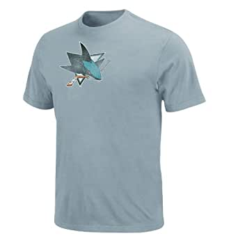 NHL San Jose Sharks Big Time Play Short Sleeve Pigment Dye Tee (Pigment Ice Blue, Large)
