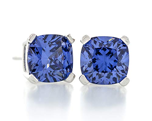 Acacia Jewelry 4.00 Carat ctw Cushion Shape Radiant Diamond Cut Tanzanite Color 7x7mm Crystal CZ 925 Sterling Silver Heavy Mounting Stud Earrings Rhodium Plated