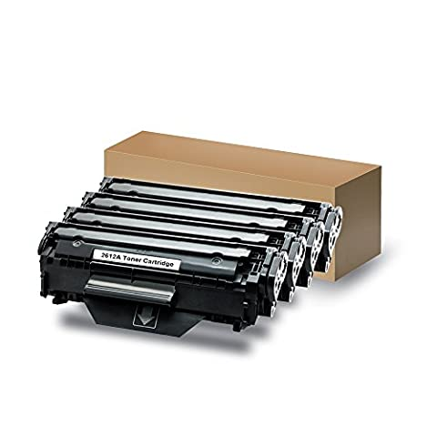 Compatible Replacement Laser Toner Cartridge for HP Q2612A(12A), Compatible with 1010/1012/1015/1018/1020/1022/3015/3020/3030MFP [Black, 4 Packs]