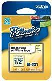 "1/2"" (12mm) Black on White P-touch M Tape for Brother PT-90, PT90 Label Maker"