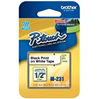 1/2 (12mm) Black on White P-touch M Tape for Brother PT-55, PT55 Label Maker