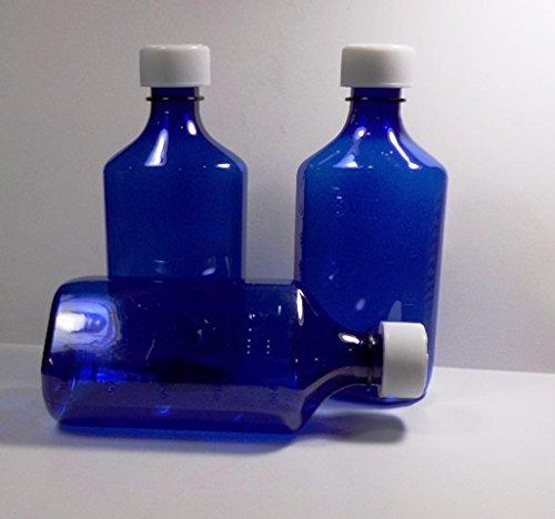 Lot of 25 Brand New COBALT BLUE Graduated Oval 4 Ounce RX Medicine/Liquor Bottles w/Caps