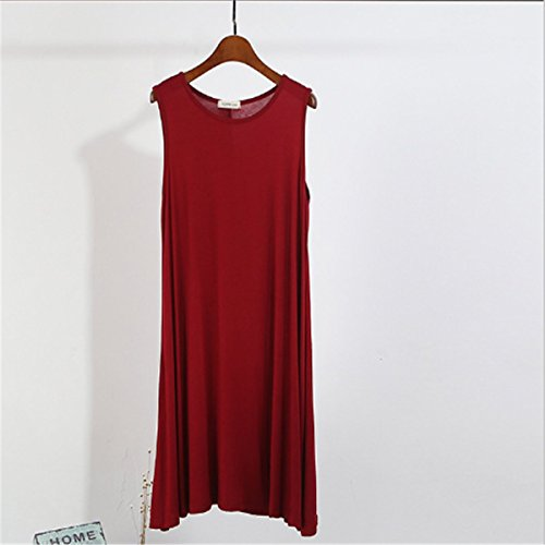 Red Women Short Solid Dress Carejoy Tank Dress Wine Casual Tunic Plus Plain Size Sleeveless HnnAdSFO