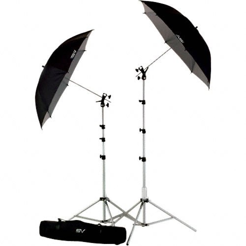 Smith-Victor UK2 Umbrella Kit with RS8 Stands, 45BW Umbrellas and Cold Shoe Mount by Smith-Victor