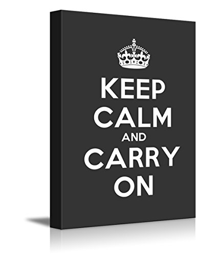 Gallery Keep Calm and Carry On Stretched Deep Grey