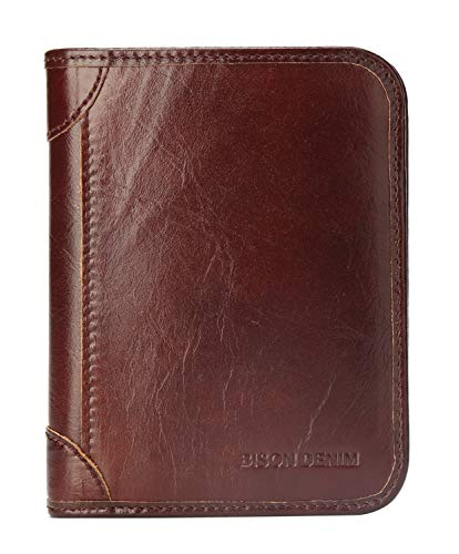 BISON DENIM RFID Blocking Bifold Wallet Front Pocket Genuine Leather Wallets Thin Credit Card Holder for Mens Womens, Brown-4361, Slim ()