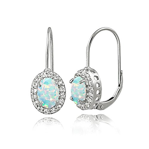 Sterling Silver Created Opal White Topaz Oval Halo Leverback Earrings