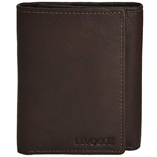 Genuine Leather Mens RFID Blocking Slim Trifold Wallet with 6 Cards+1 ID Window + 2 Note Compartments. (Brown Crazy Horse) (Brown Nappa)
