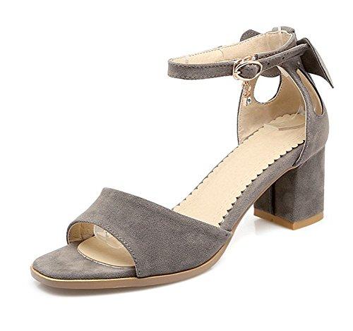 Grau Blockabsatz Schleife Damen Sandale Offene Knöchelriemchen Elegant Aisun Zehen Out Cut xvT0Aw