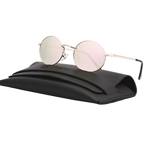 VIVIENFANG Vintage Tinted Lens Small Oval Polarized Sunglasses Metal Avaitor Shades For Unisex 87156D Pink - Oval Mirrored Sunglasses