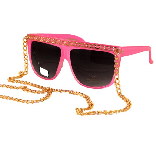 Retro Glossy Flat Top Wayfarer Sunglasses - Pink with Gold - Lenses With Shades Shutter