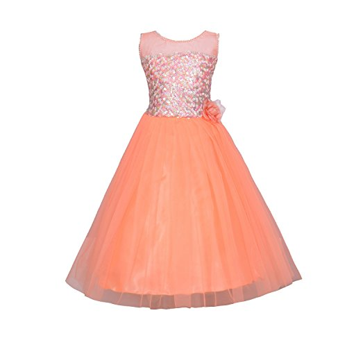 Aarika Girl's Peach Self Design Net Gown with Hairband (2822-PEACH_40_13-14 Years) by Aarika