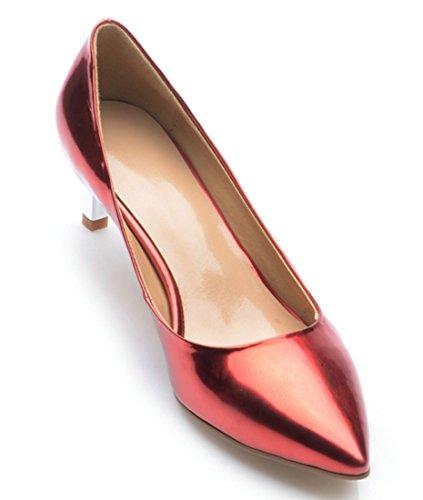 Rojo piel de de fiesta de mujer tacón de para con Vestido TDA punta gatito noche pnYWaq6Ex7