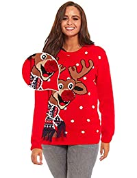 Women's Ugly Christmas Sweater Fluffy Snowman with Real...