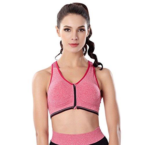 Evedaily Women's Sports Bra Zipper Wide Straps High Impact Support Push...