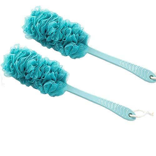 Arswin Lufa Back Scrubber for Shower, Anti-Slip Long Handle Bath Sponge Shower Brush, Soft Nylon Mesh Back Cleaner Washer, Body Brush for Women&Men, Bathroom Shower Accessories (2 Pack-DarkTurquoise)
