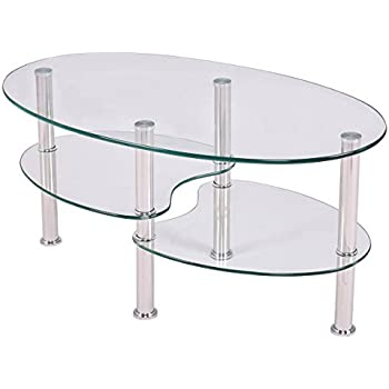 Lovely TANGKULA Glass Coffee Table For Home Office With 2 Tire Tempered Glass  Boards U0026 Sturdy Chrome Plated Legs Smooth Oval Glass End Table Modern Coffee  Tea ...