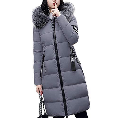 Abbigliamento Sezione Cappuccio Grigio Femminile Nuovo Lunga Addensare Yefree Stampa Cerniera Cappotto E Inverno Media RxwTxqEAZ