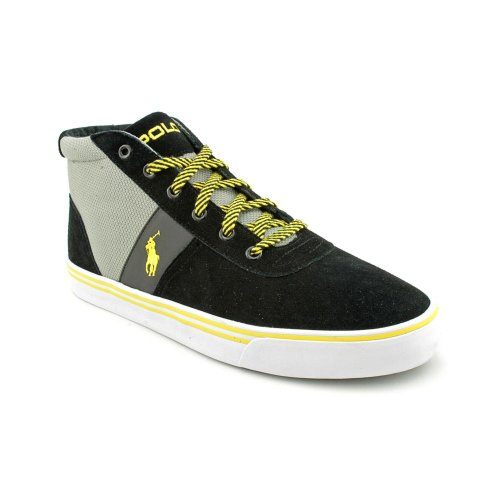 Polo Ralph Lauren Men's Hanford Mid Sneaker,Black/Grey/Yellow,9 D US