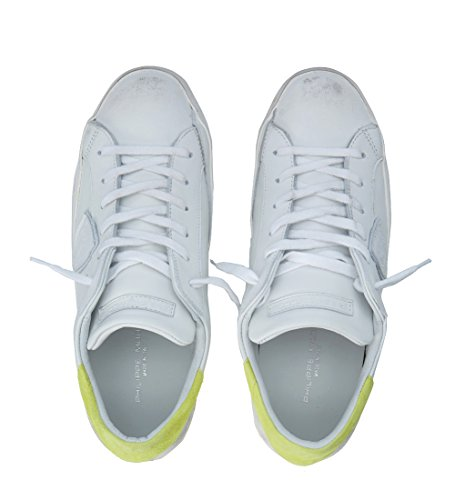 Philippe Model Sneakers Paris Wit In Leer En Fluo Geel Wit