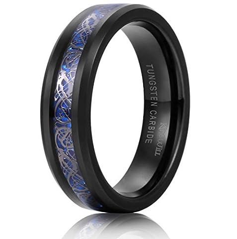 King Will DRAGON Unisex 6mm Black Celtic Dragon Blue Carbon Fiber Tungsten Carbide Ring Comfort Fit6