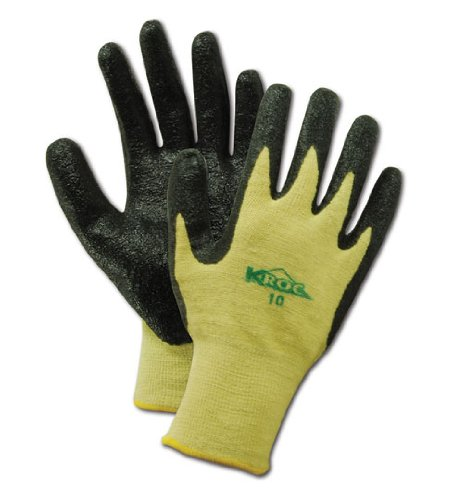 Magid KEV8616 K-ROC Dupont Kevlar/Lycra 1500 Gloves with Rough Finish Nitrile Coating, Work, Cut Resistant, 13 Gauge Thickness, Size 8, Yellow  (One Dozen)